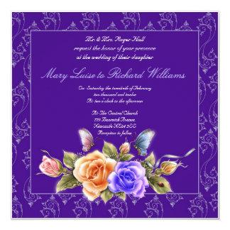 purple floral wedding invitation - butterflies