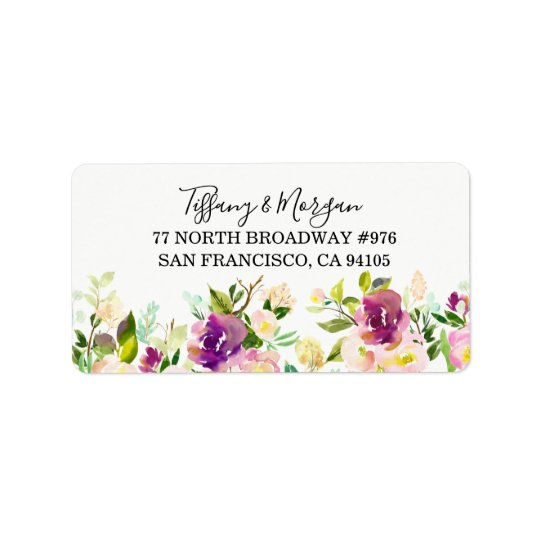 Purple Floral Wedding Return address label
