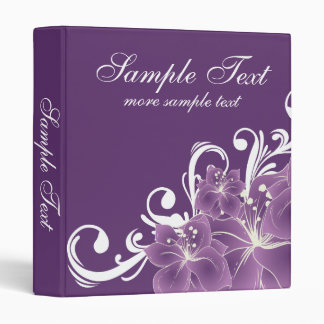 Purple Floral White Swirls Vinyl Binders