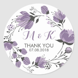 Purple Floral Wreath Monogram Thank You Sticker