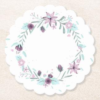 Purple Floral Wreath Paper Coaster