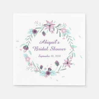 Purple Floral Wreath Paper Napkins