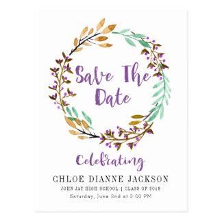 Purple Floral Wreath Save The Date Graduation Postcard