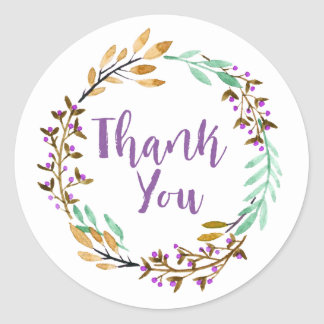 Purple Floral Wreath Thank You Classic Round Sticker