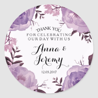 Purple Floral Wreath Wedding Sticker