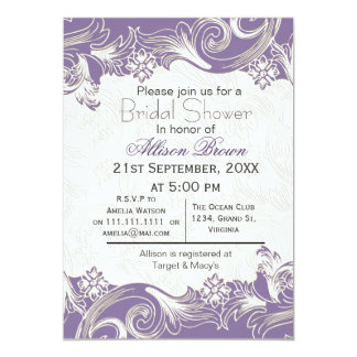 Purple florals spring Bridal shower Card
