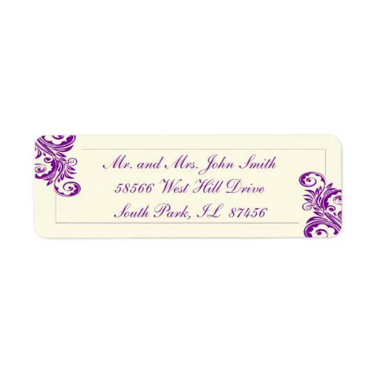 Purple Flourish Return Address Labels