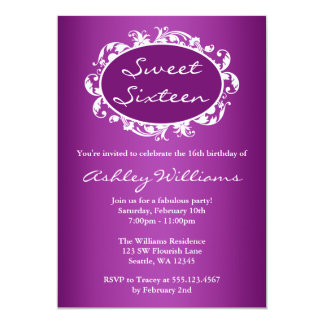 Purple Flourish Swirl Frame Sweet 16 Birthday Card