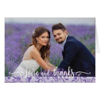 Purple Flourishes Wedding Two Photo Thank You Card