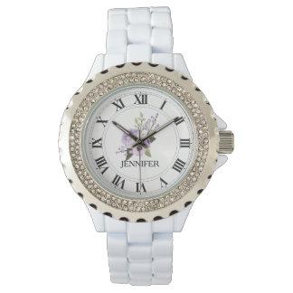 Purple Floweer Women's Rhinestone Enamel Watch