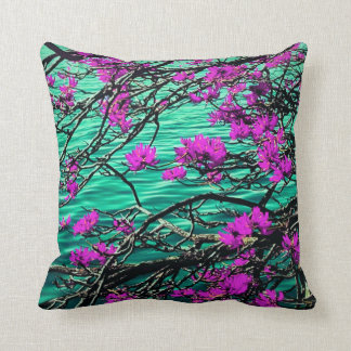 Purple flower and flowing river cushion