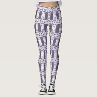 Purple flower and stripe patterned leggings