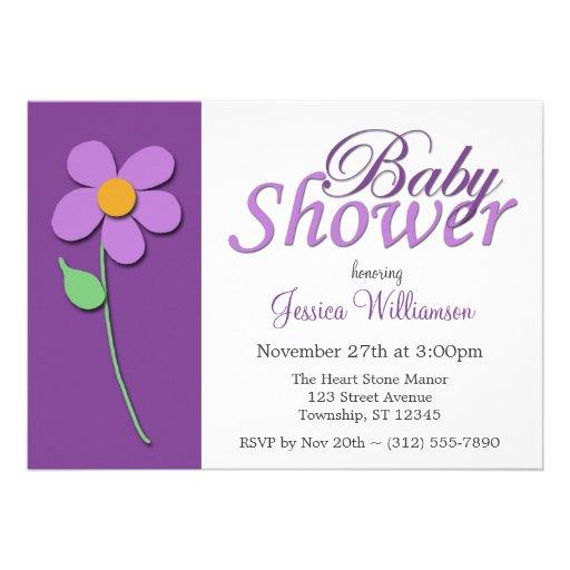 purple flower baby shower invitations zazzle