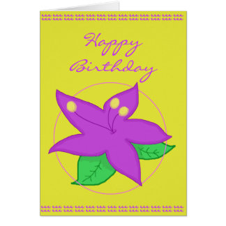 Purple Flower Birthday Card