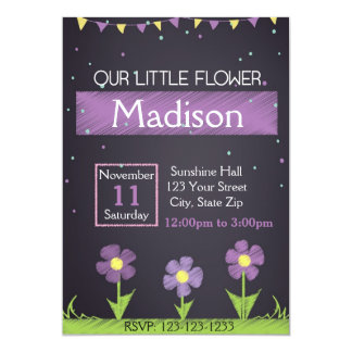 Purple Flower Birthday Invitation