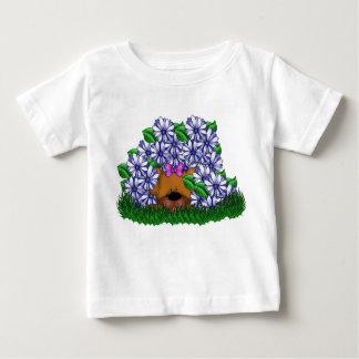 Purple Flower Brown Puppy Cute Dog Doggy Pet Baby T-Shirt