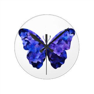 Purple flower butterfly silhouette wall clock