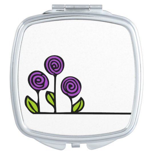 Purple Flower Cosmetic Mirror Travel Mirror