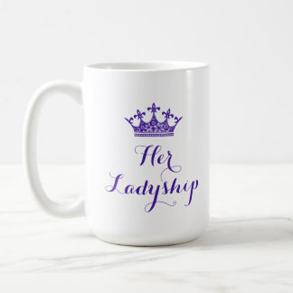 Purple Flower Crown Her Ladyship Script Coffee Mug