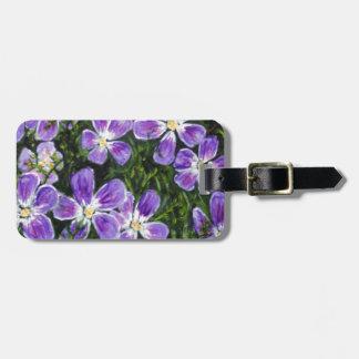 Purple flower design luggage tag