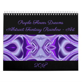 Purple Flower Dreams - Abstract Rainbow Art Wall Calendars