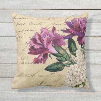 Purple Flower Ephemera Throw Pillow
