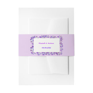 purple flower frame floral chic Belly Band Invitation Belly Band