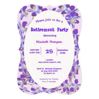 purple flower frame floral Retirement Party card