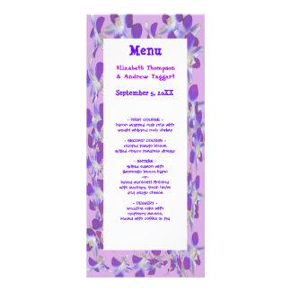 purple flower frames floral wedding menu