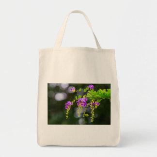Purple Flower Grocery Tote