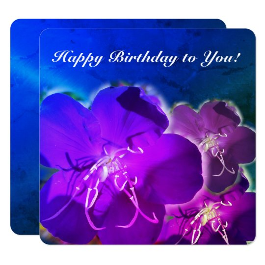 Purple flower happy birthday greeting card, blue card