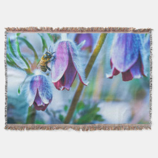 Purple Flower Honey Bee Throw Blanket