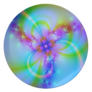 Purple Flower In Blue Plates