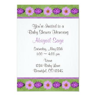 Purple Flower & Ladybug Baby Shower Invitation