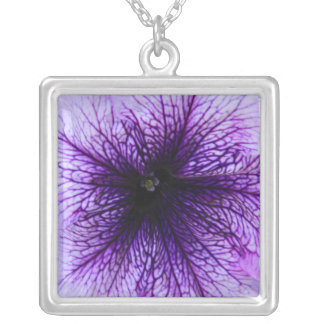 Purple flower macro photography silver plated necklace