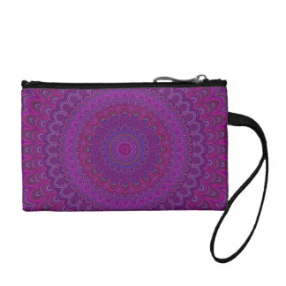 Purple flower mandala coin purse