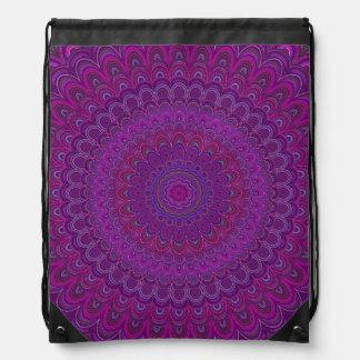 Purple flower mandala drawstring bag