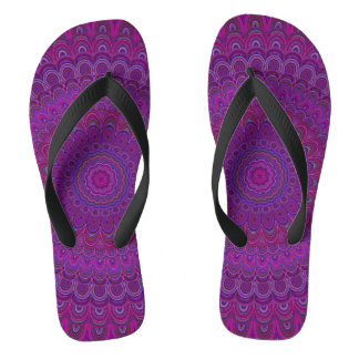 Purple flower mandala flip flops