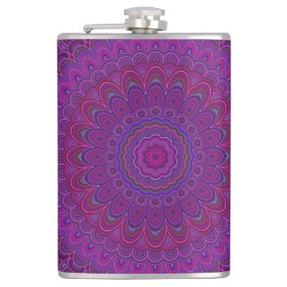 Purple flower mandala hip flask