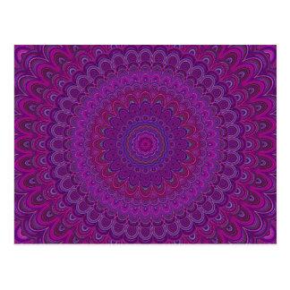 Purple flower mandala postcard