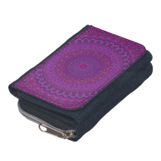 Purple flower mandala wallets