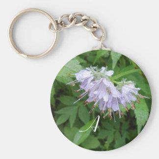 Purple flower monogram key chain