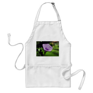 Purple Flower on Green Background Adult Apron