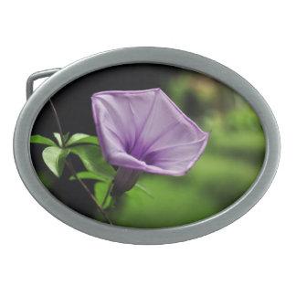 Purple Flower on Green Background Oval Belt Buckle