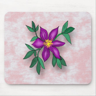 Purple Flower on Pink Textured Background Mouse Pad