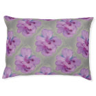 Purple Flower on Silver Grey Dog Bed