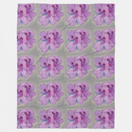 Purple Flower on Silver Grey Fleece Blanket