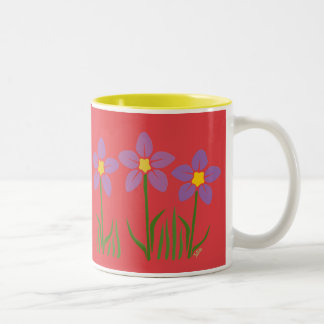 Purple Flower Patch Two-Tone Coffee Mug