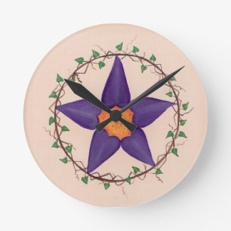 Purple flower pentagram clock