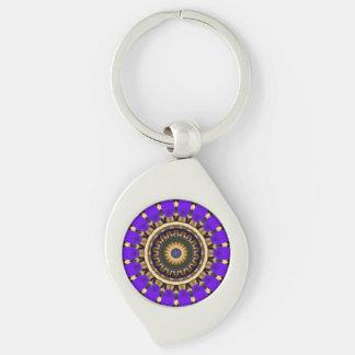 Purple Flower Petals Pattern Kaleidoscope Design 1 Silver-Colored Swirl Metal Keychain